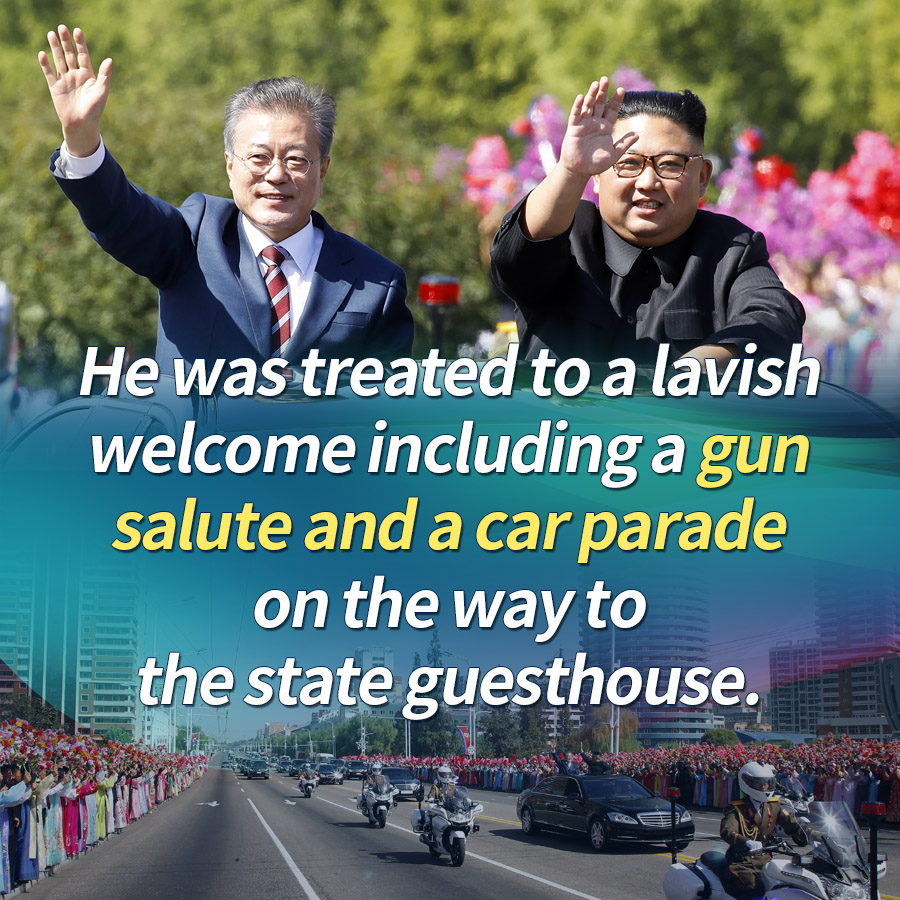 He was treated to a lavish welcome including a gun salute and a car parade on the way to the state guesthouse.