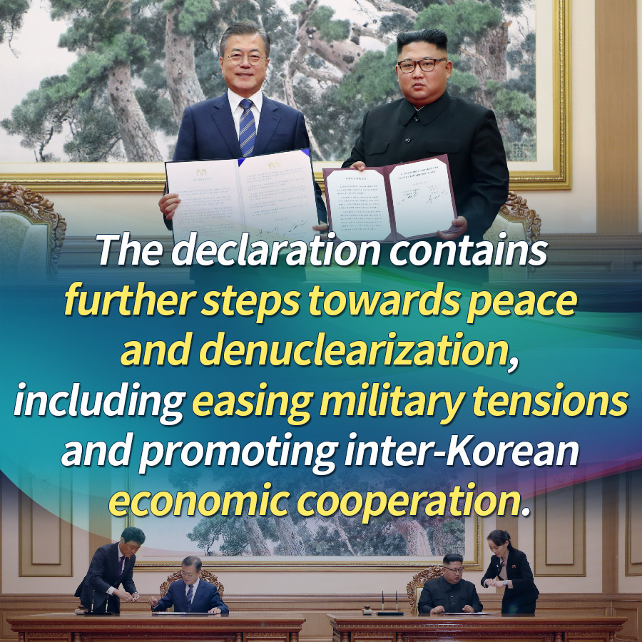 The declaration contains further steps towards peace and denuclearization, including easing military tensions and promoting inter-Korean economic cooperation.