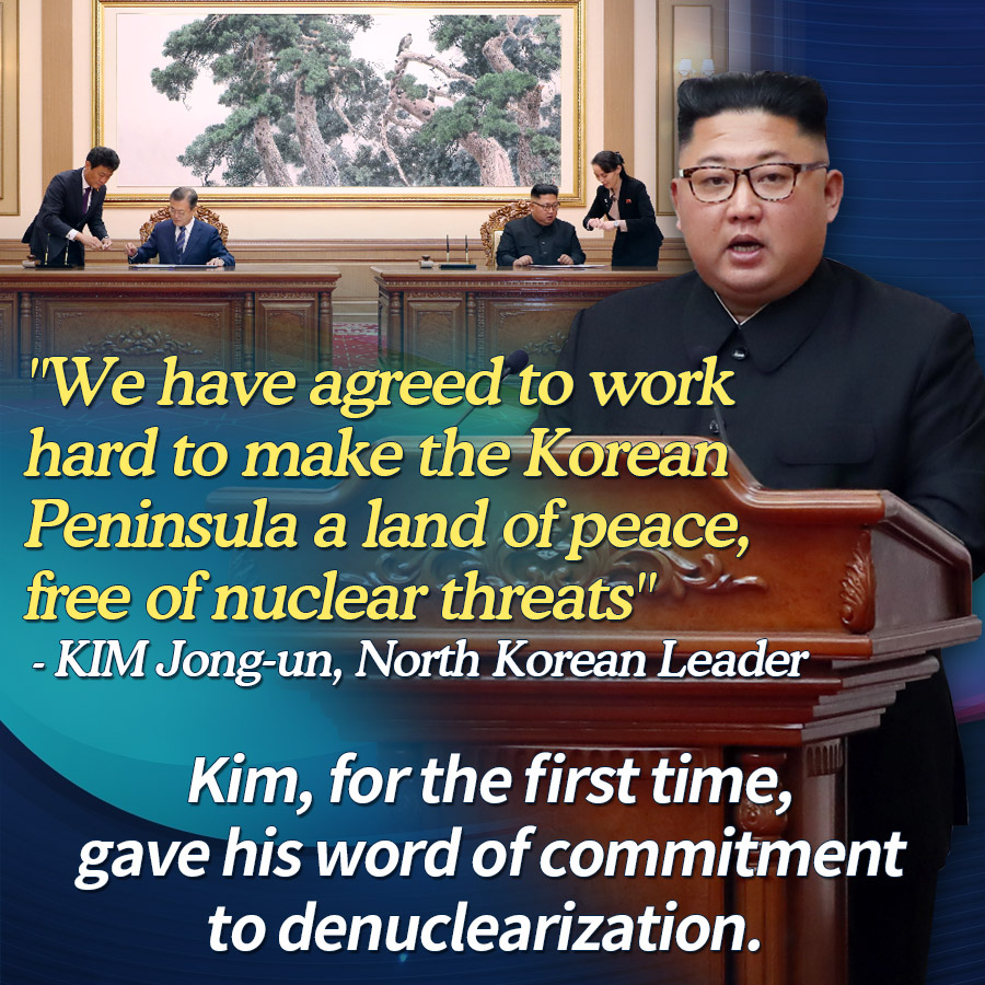 """We have agreed to work hard to make the Korean Peninsula a land of peace, free of nuclear threats""<br>