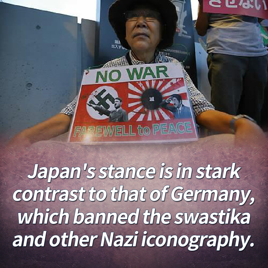 Japan's stance is in stark contrast to that of Germany, which banned the swastika and other Nazi iconography.