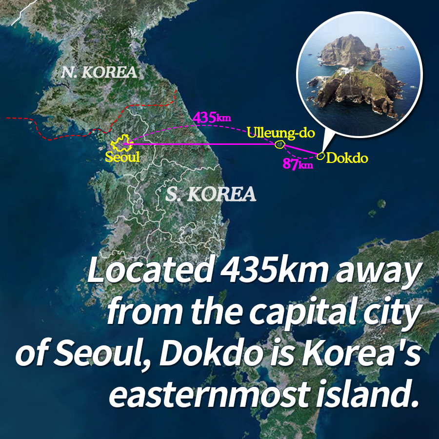 Located 435km away from the capital city of Seoul, Dokdo is Korea's easternmost island.