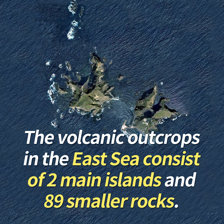 The volcanic outcrops in the East Sea consist of 2 main islands and 89 smaller rocks.