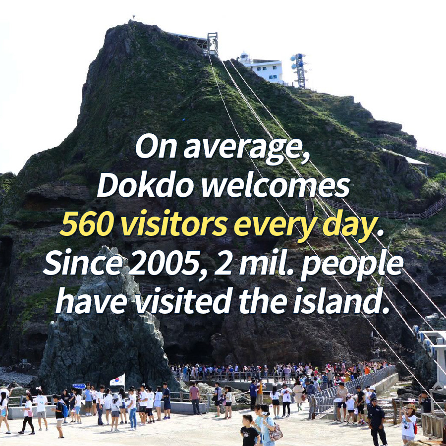 On average, Dokdo welcomes 560 visitors every day. Since 2005, 2 mil. people have visited the island.