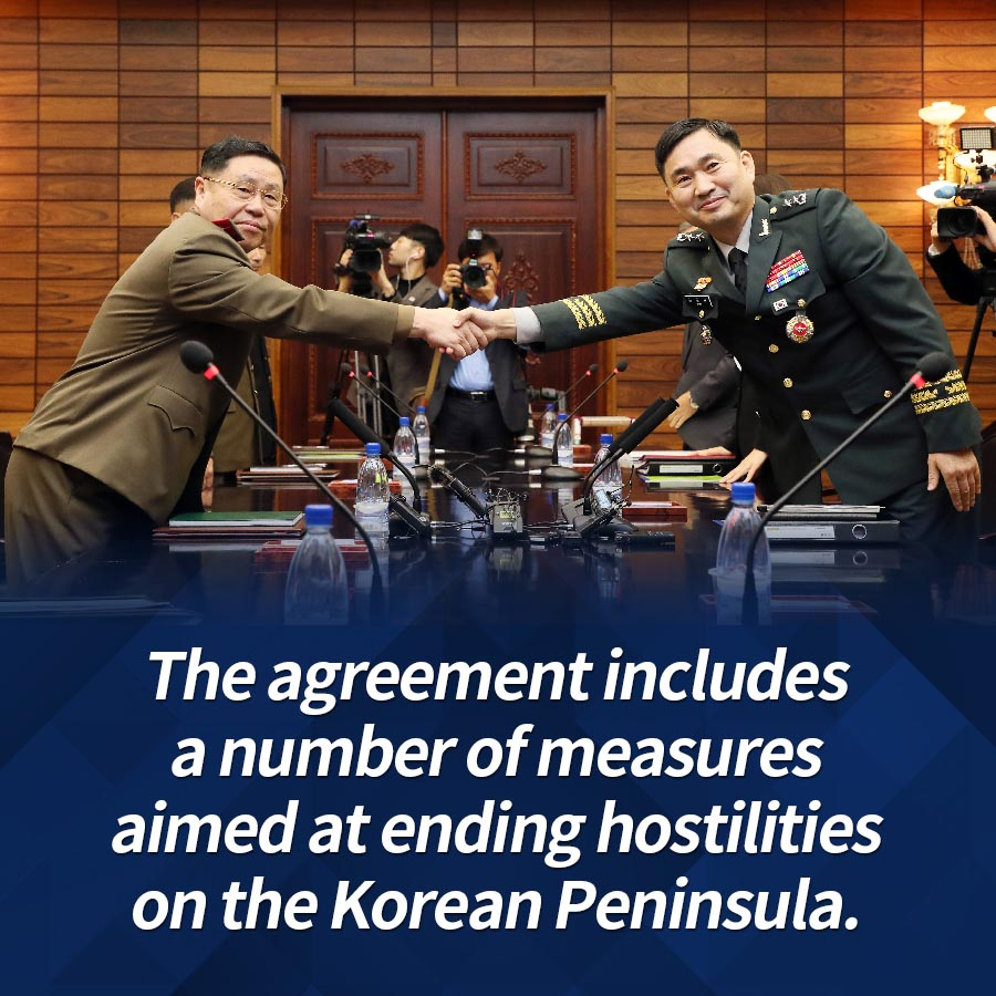 The agreement includes a number of measures aimed at ending hostilities on the Korean Peninsula.