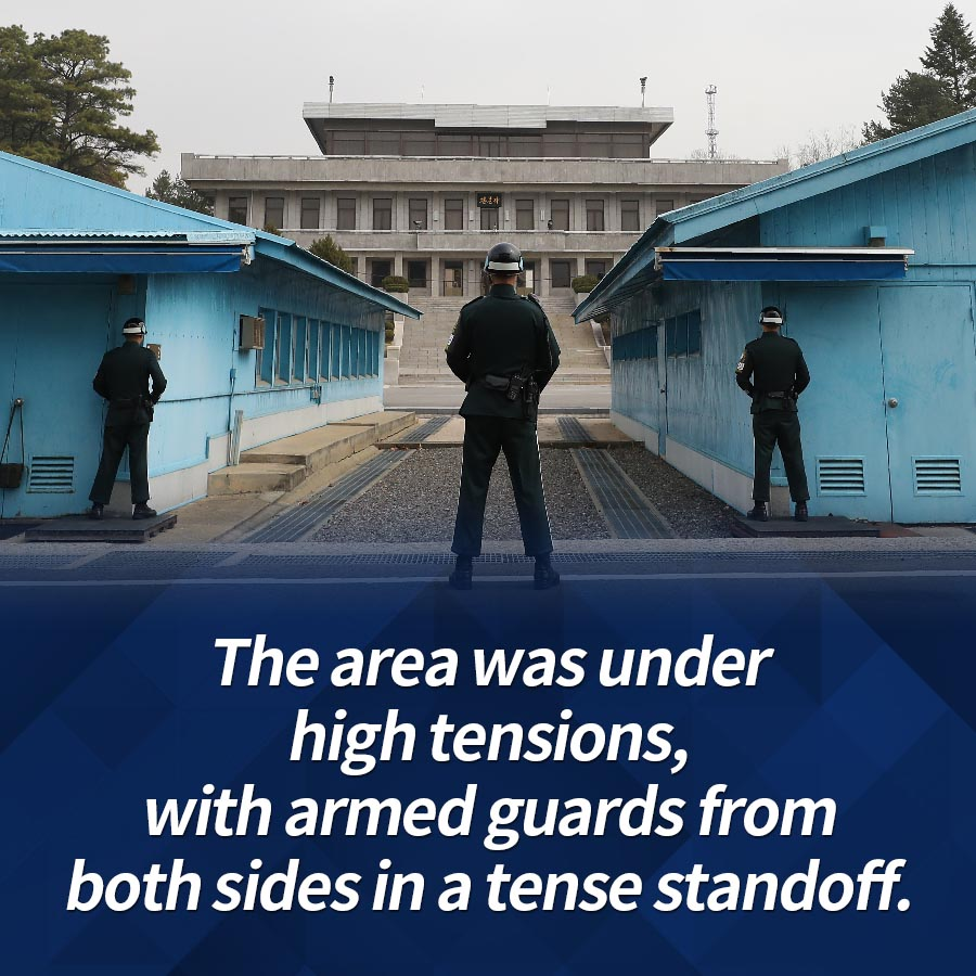 The area was under high tensions, with armed guards from both sides in a tense standoff.