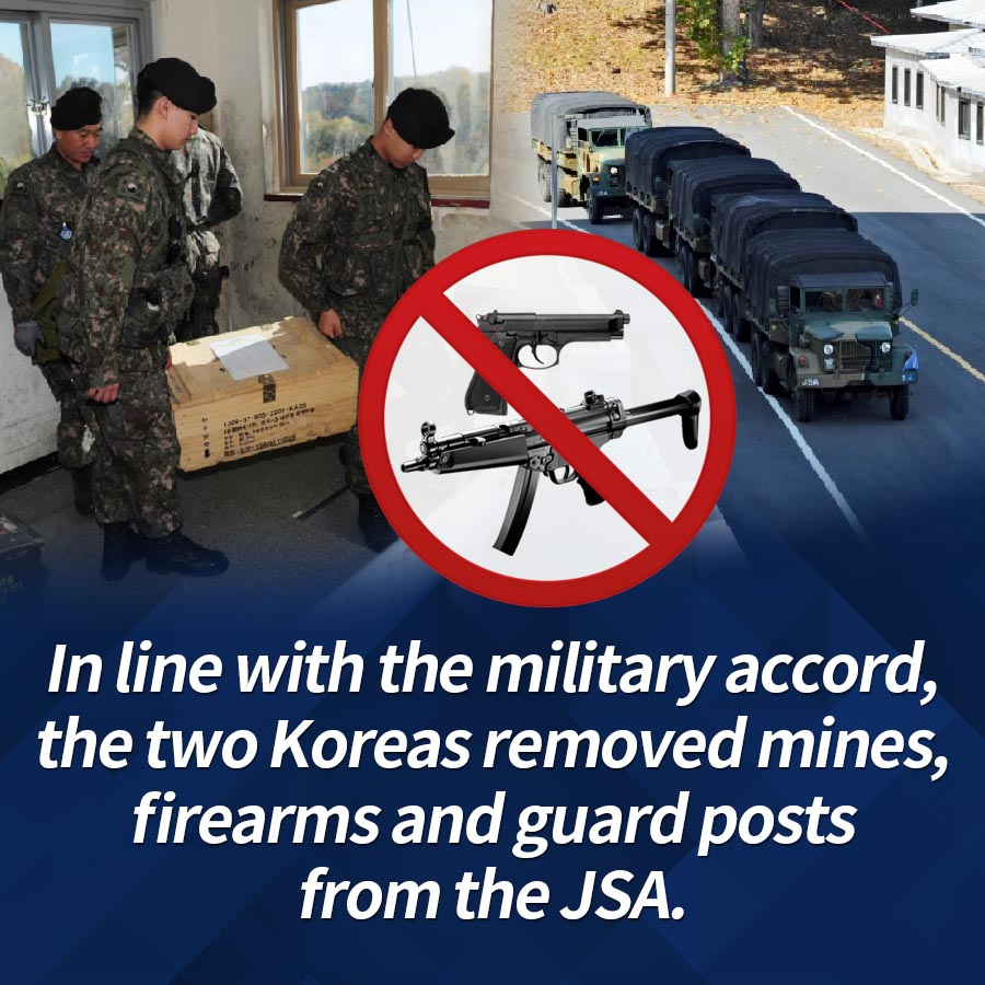 In line with the military accord, the two Koreas removed mines, firearms and guard posts from the JSA.