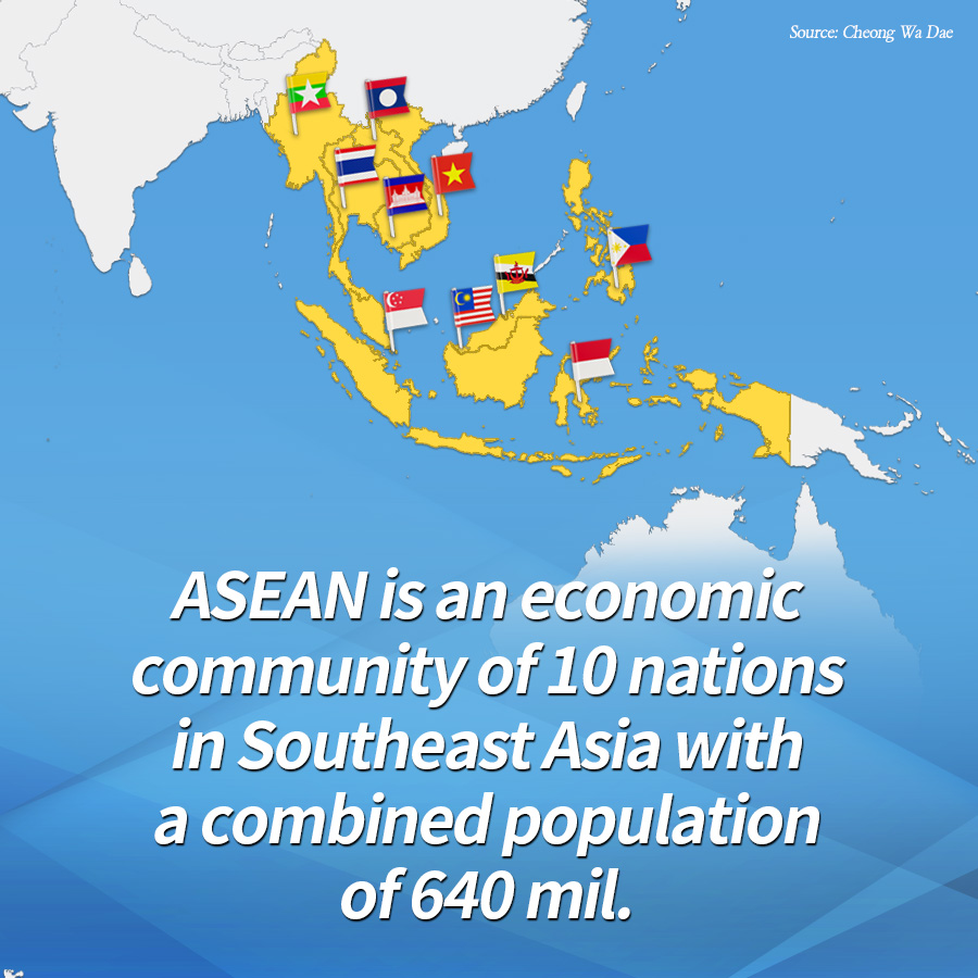 ASEAN is an economic community of 10 nations in Southeast Asia with a combined population of 640 mil. <br>