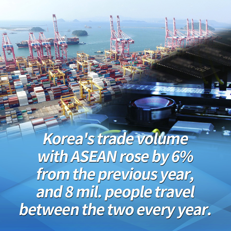 Korea's trade volume with ASEAN rose by 6% from the previous year, and 8 mil. people travel between the two every year.