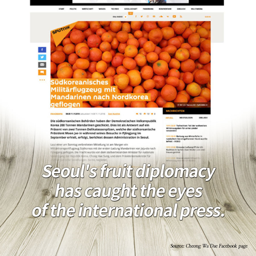 Seoul's fruit diplomacy has caught the eyes of the international press.<br>