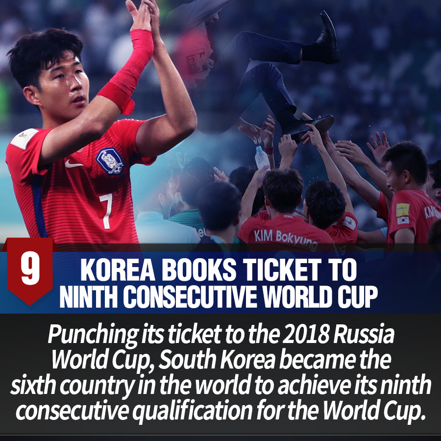9. Korea books ticket to ninth consecutive world cup<br> Punching its ticket to the 2018 Russia World Cup, South Korea became the sixth country in the world to achieve its ninth consecutive qualification for the World Cup.