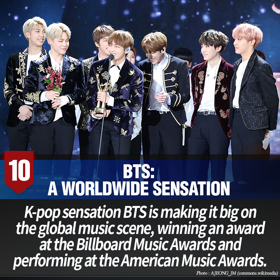 10. BTS: a worldwide sensation<br> K-pop sensation BTS is making it big on the global music scene, winning an award at the Billboard Music Awards and performing at the American Music Awards.