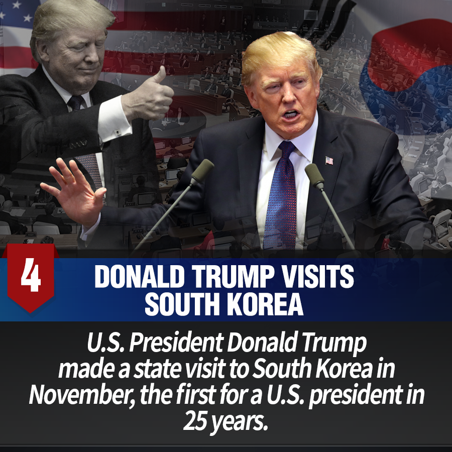 4. Donald Trump visits South Korea<br> U.S. President Donald Trump made a state visit to South Korea in November, the first for a U.S. president in 25 years.