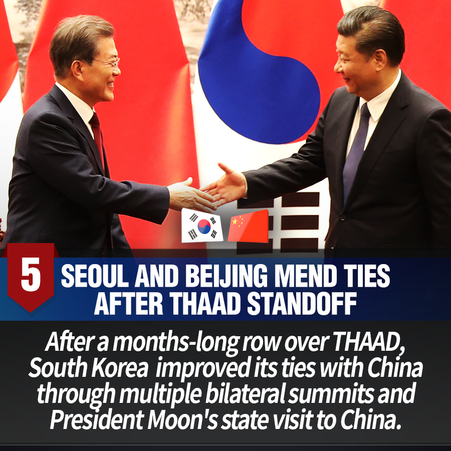 5. Seoul and Beijing mend ties after THAAD standoff<br>