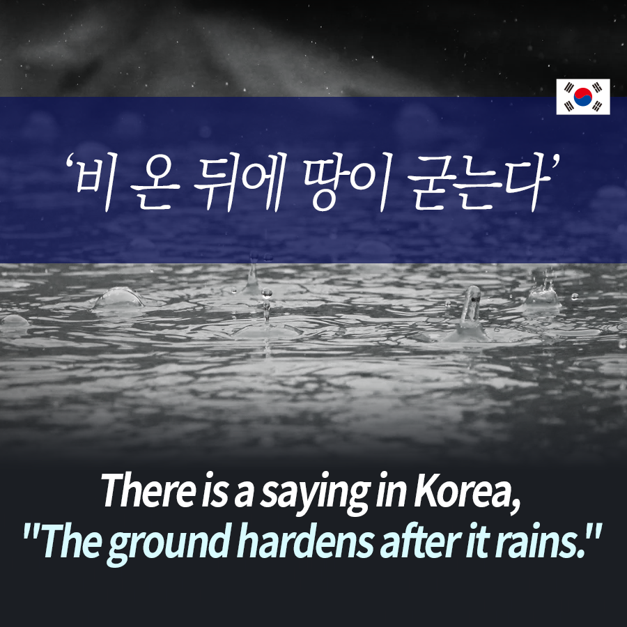 "There is a saying in Korea, ""The ground hardens after it rains."""