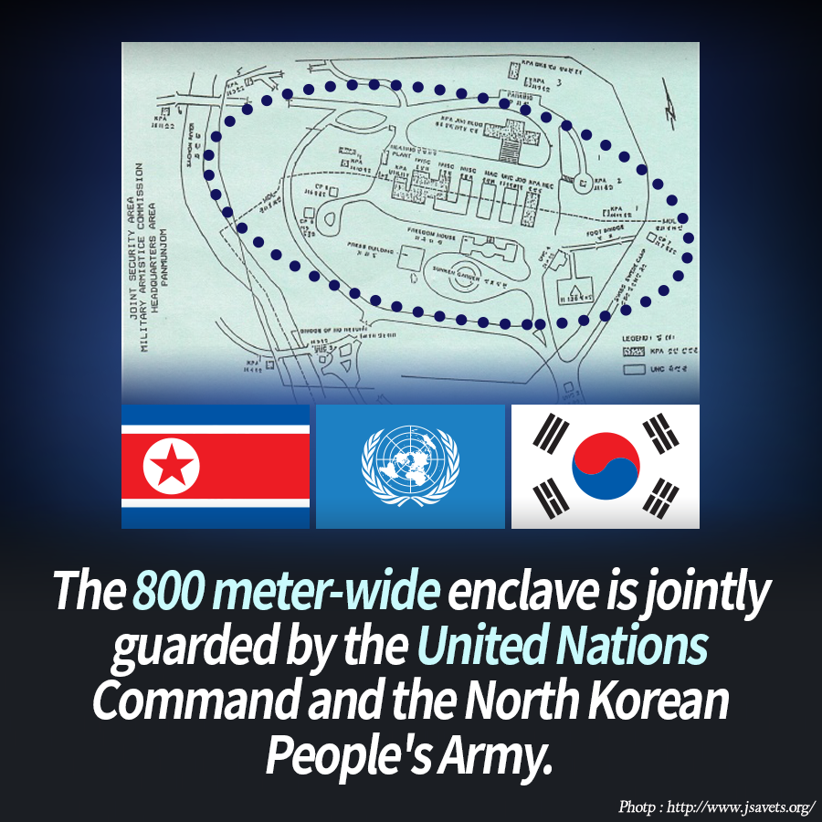 The 800 meter-wide enclave is jointly guarded by the United Nations Command and the North Korean People's Army.