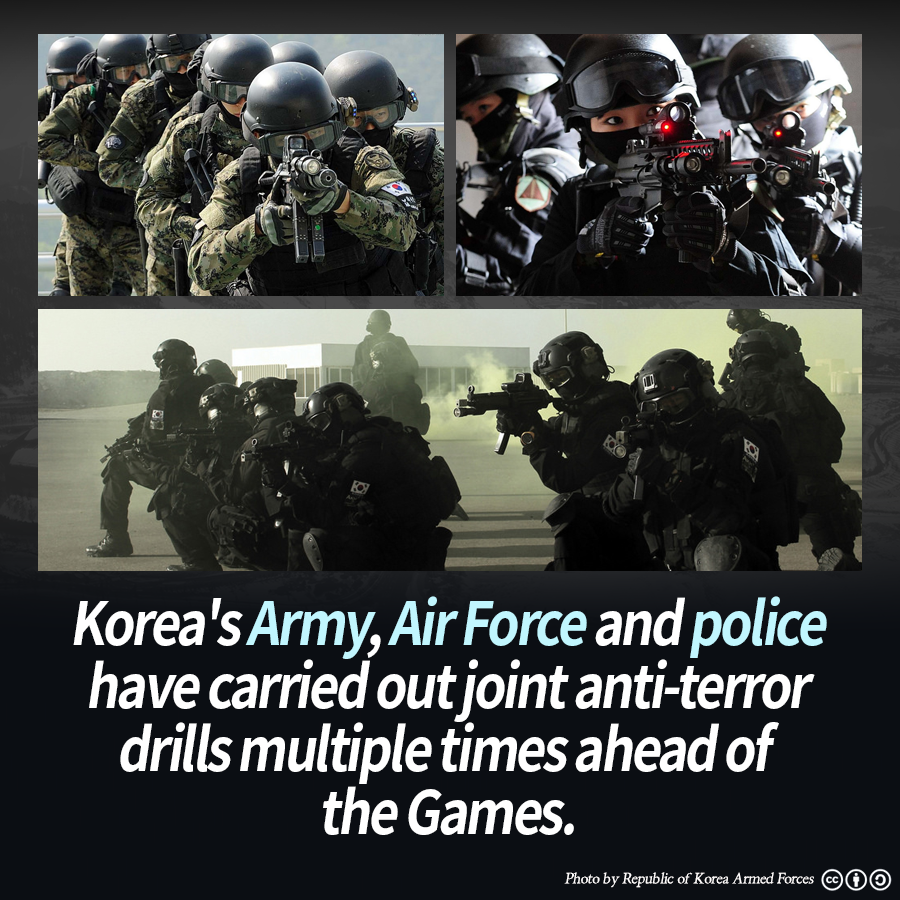 Korea's Army, Air Force and police have carried out joint anti-terror drills multiple times ahead of the Games.
