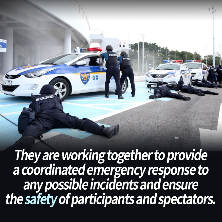 They are working together to provide a coordinated emergency response to any possible incidents and ensure the safety of participants and spectators.