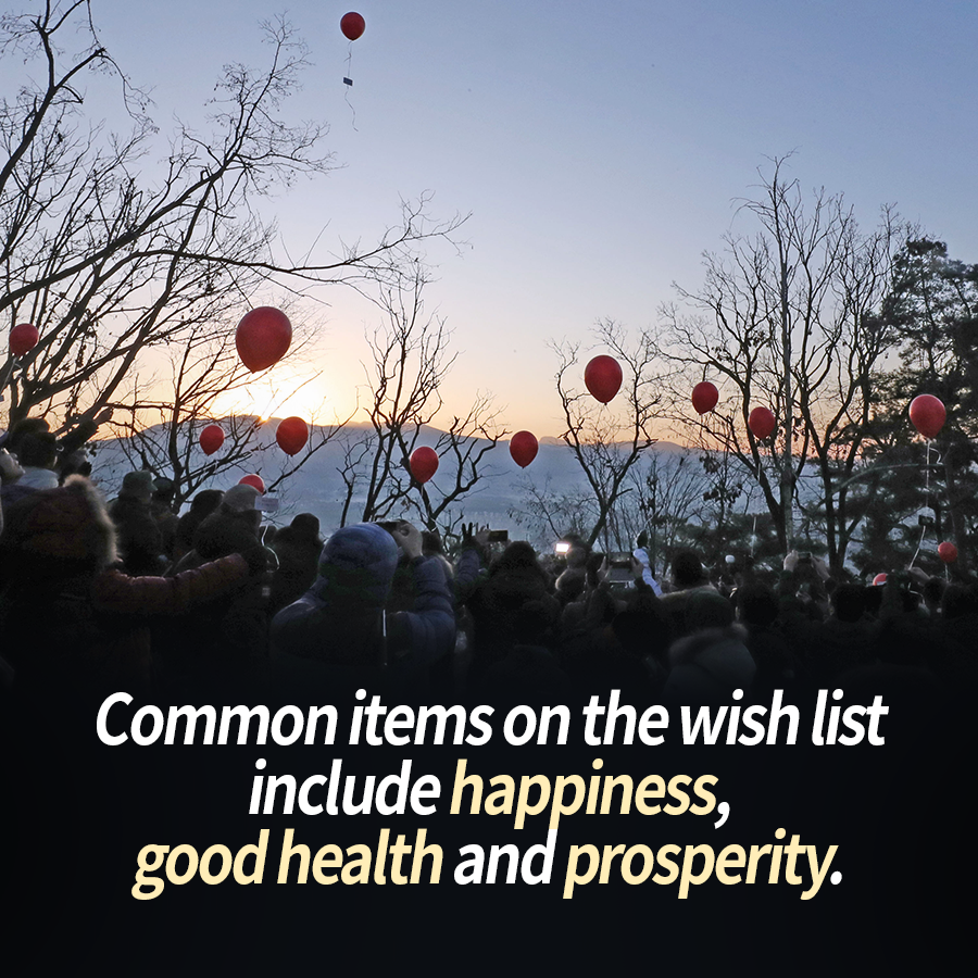 Common items on the wish list include happiness, good health and prosperity.