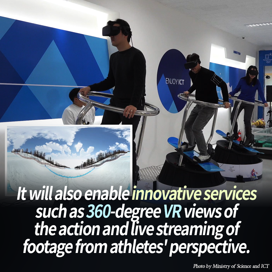 It will also enable innovative services such as 360-degree VR views of the action and live streaming of footage from athletes' perspective.