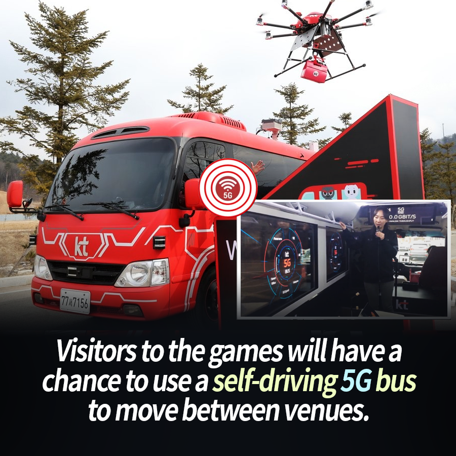 Visitors to the games will have a chance to use a self-driving 5G bus to move between venues.