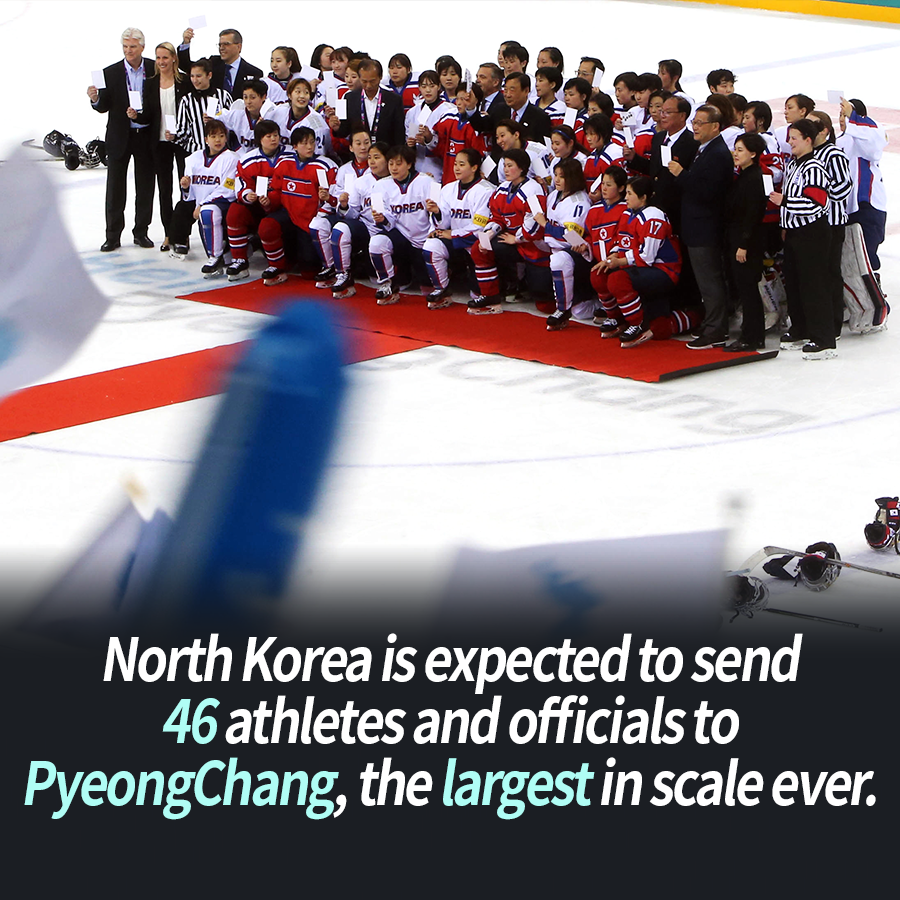 North Korea is expected to send 46 athletes and officials to PyeongChang, the largest in scale ever.