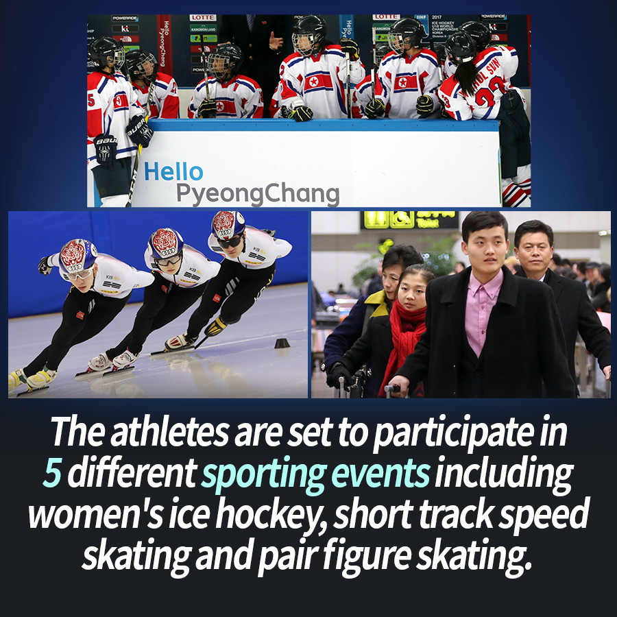 The athletes are set to participate in five different sporting events including women's ice hockey, short track speed skating and pair figure skating.