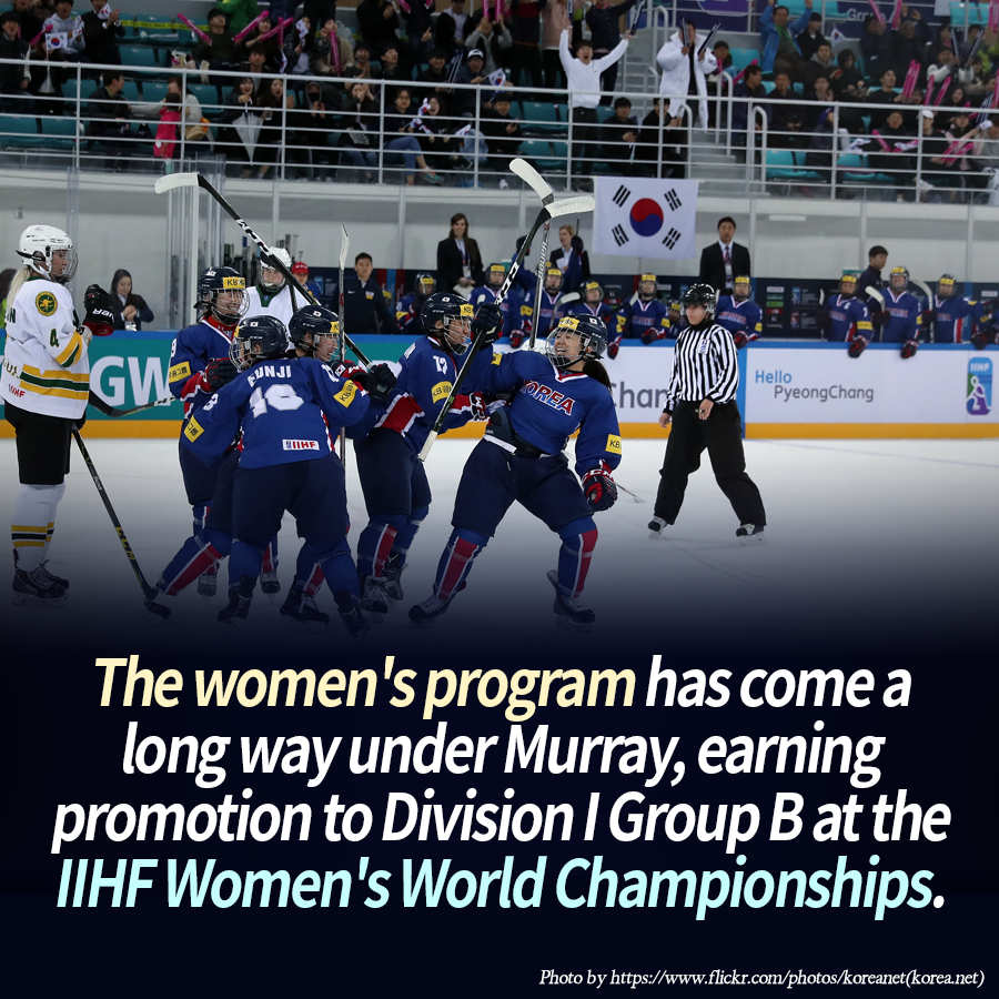 The women's program has come a long way under Murray, earning promotion to Division I Group B at the IIHF Women's World Championships.