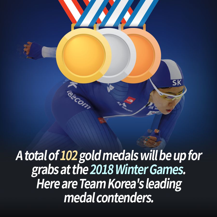A total of 102 gold medals will be up for grabs at the 2018 Winter Games. Here are Team Korea's leading medal contenders.