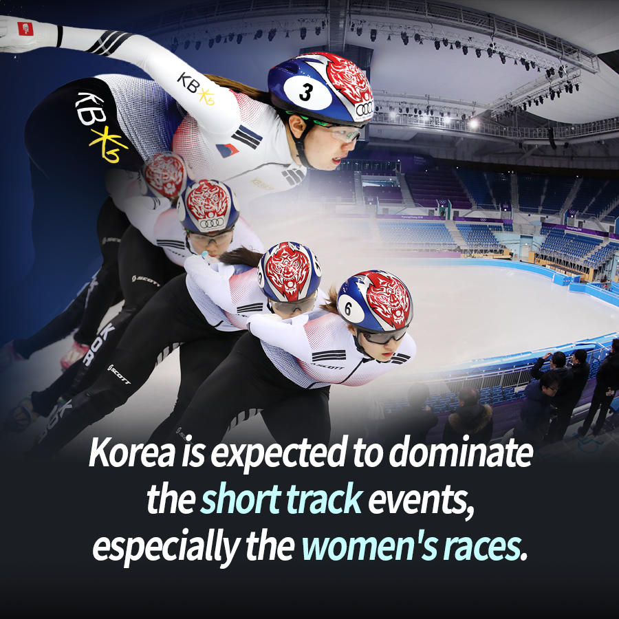 Korea is expected to dominate the short track events, especially the women's races.