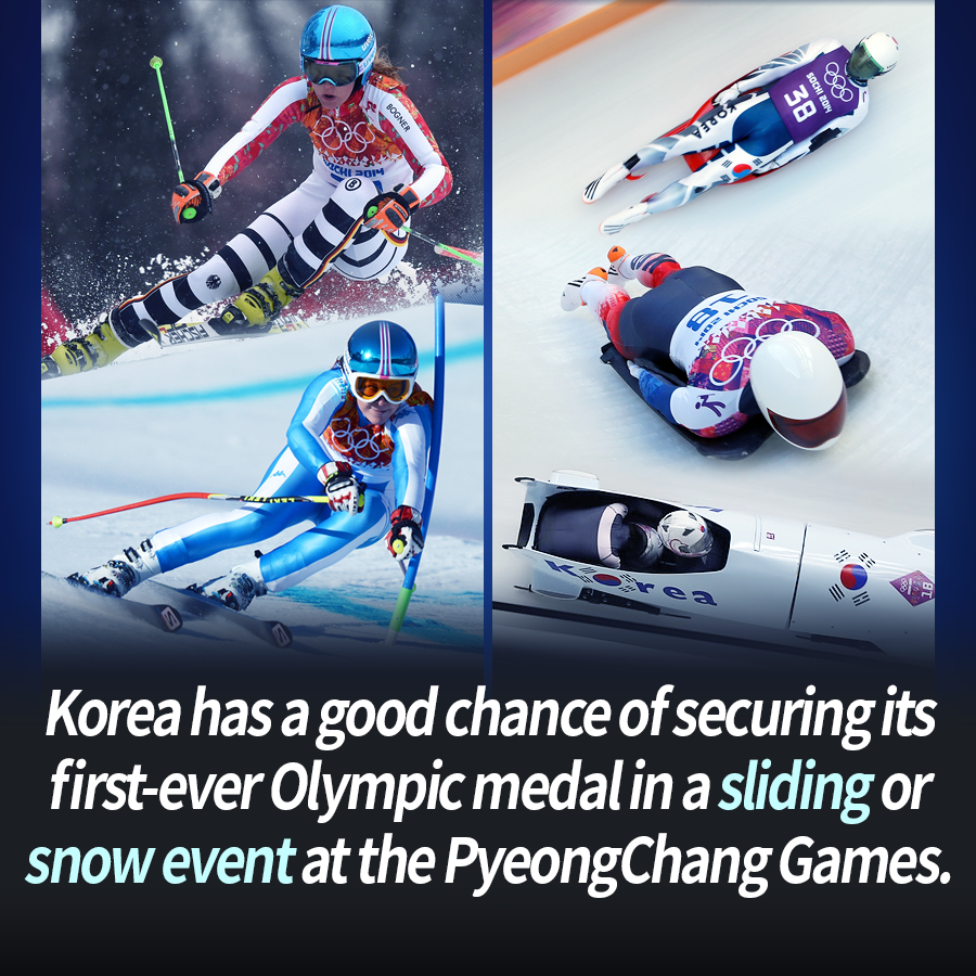 Korea has a good chance of securing its first-ever Olympic medal in a sliding or snow event at the PyeongChang Games.