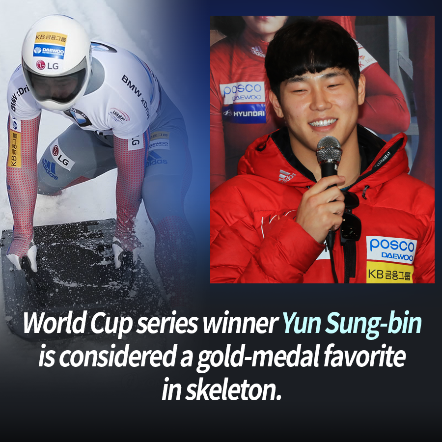 World Cup series winner Yun Sung-bin is considered a gold-medal favorite in skeleton.