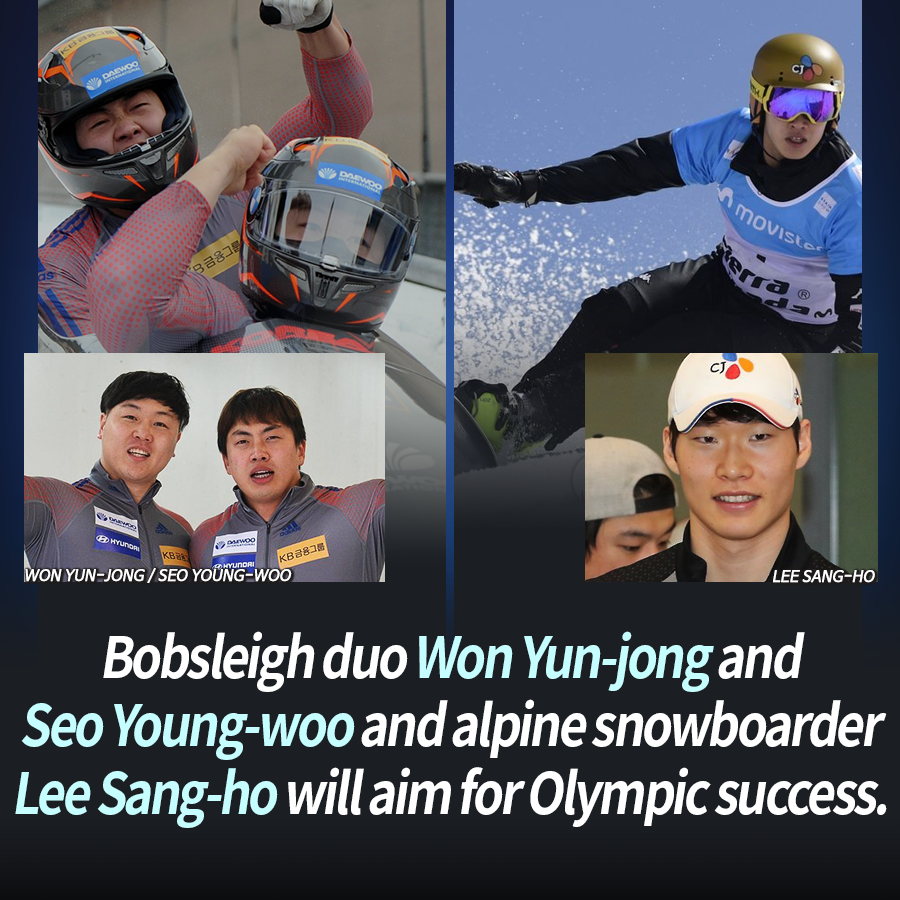 Bobsleigh duo Won Yun-jong and Seo Young-woo and alpine snowboarder Lee Sang-ho will aim for Olympic success.