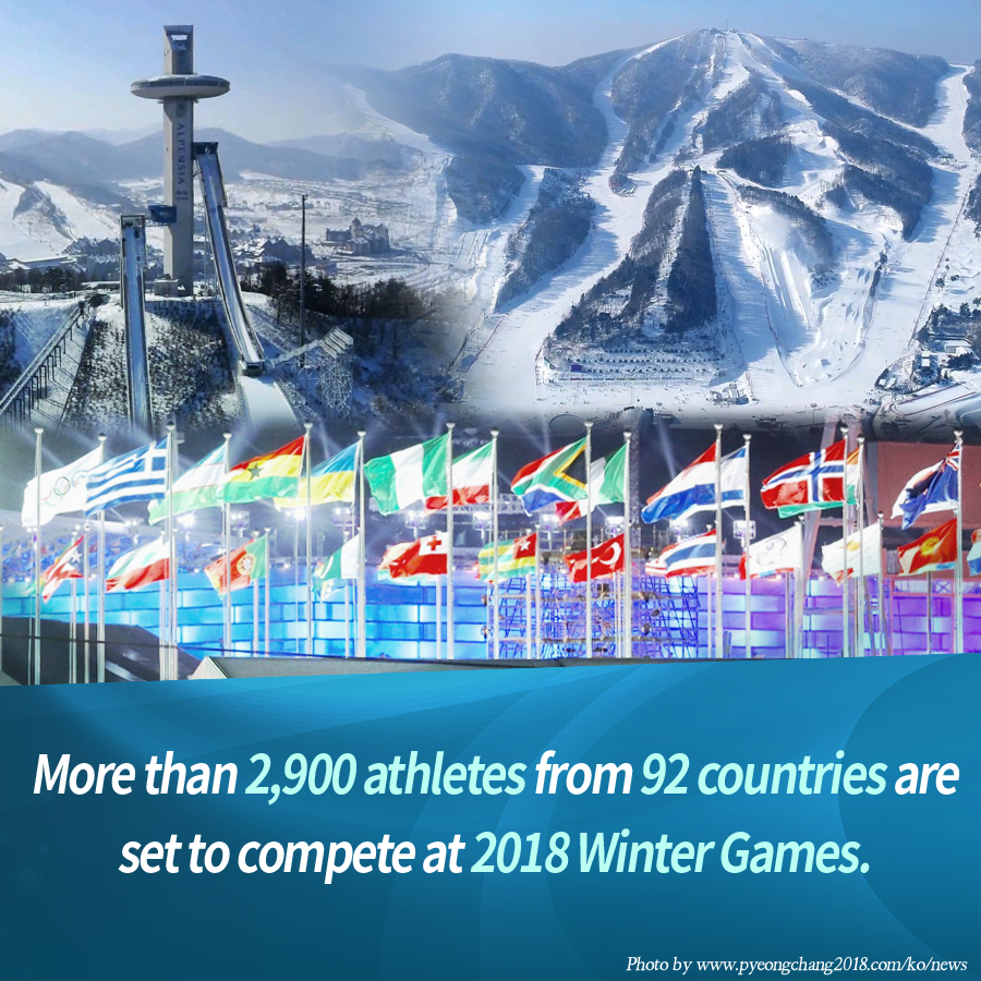More than 2,900 athletes from 92 countries are set to compete at PyeongChang 2018, making it the largest Winter Olympics in history.