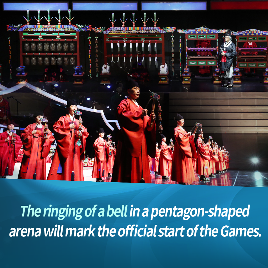 The ringing of a bell in a pentagon-shaped arena will mark the official start of the Games.