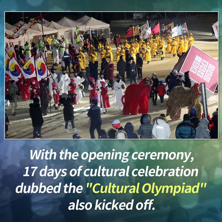 "With the opening ceremony, 17 days of cultural celebration dubbed the ""Cultural Olympiad"" also kicked off."