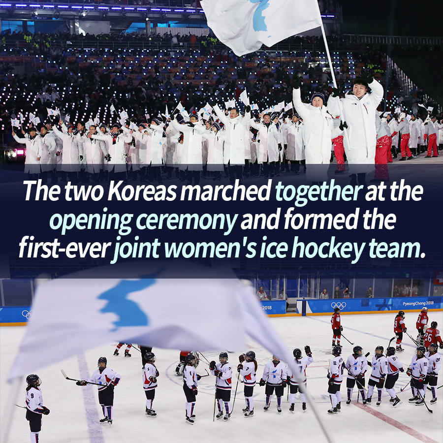 The two Koreas marched together at the opening ceremony and formed the first-ever joint women's ice hockey team.