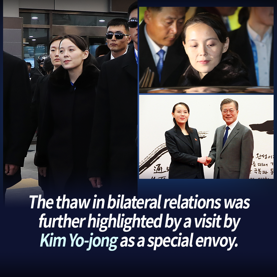 The thaw in bilateral relations was further highlighted by a visit by Kim Yo-jong as a special envoy.
