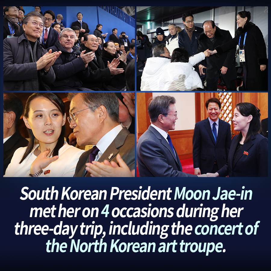 South Korean President Moon Jae-in met her on 4 occasions during her three-day trip, including the concert of the North Korean art troupe.