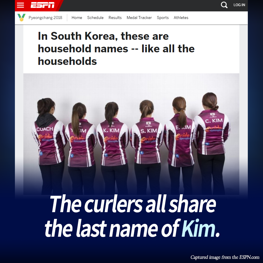 The curlers all share the last name of Kim.