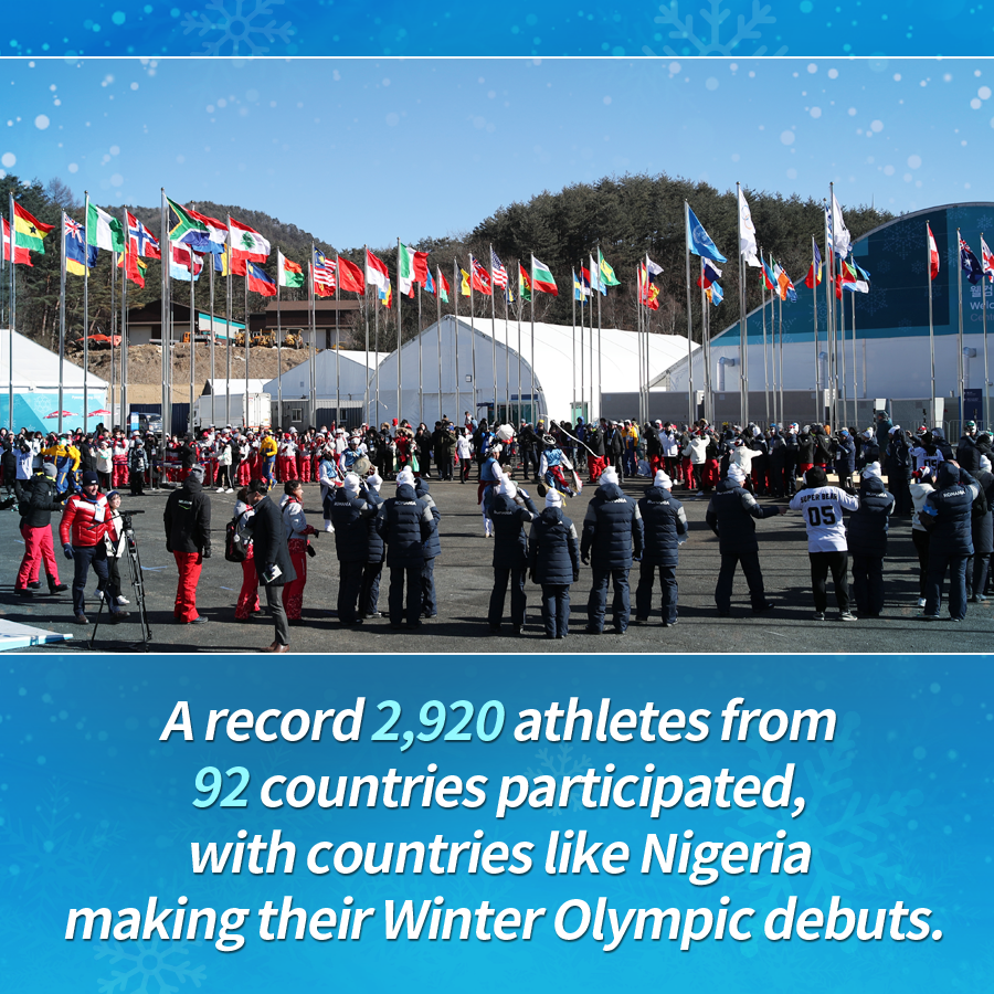A record 2,920 athletes from 92 countries participated, with countries like Nigeria making their Winter Olympic debuts.