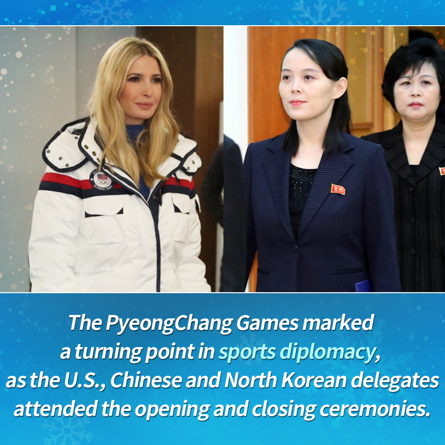 The PyeongChang Games marked a turning point in sports diplomacy, as the U.S., Chinese and North Korean delegates attended the opening and closing ceremonies.