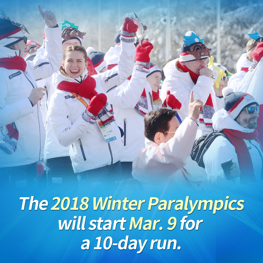 The 2018 Winter Paralympics will start Mar. 9 for a 10-day run.