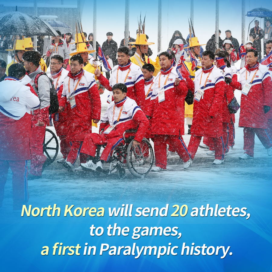 North Korea will send 20 athletes, and the two Koreas will march together under one flag, a first in Paralympic history.