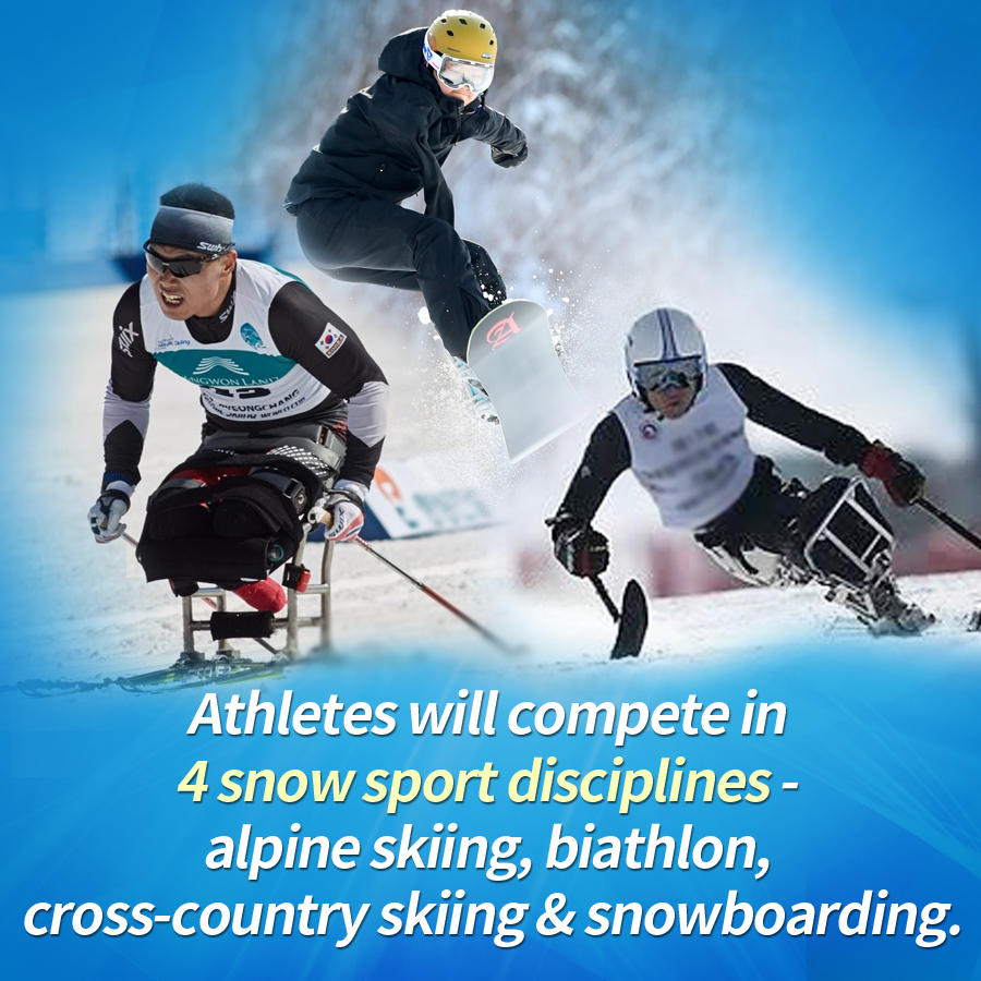 Athletes will compete in 4 snow sport disciplines - alpine skiing, biathlon, cross-country skiing & snowboarding.