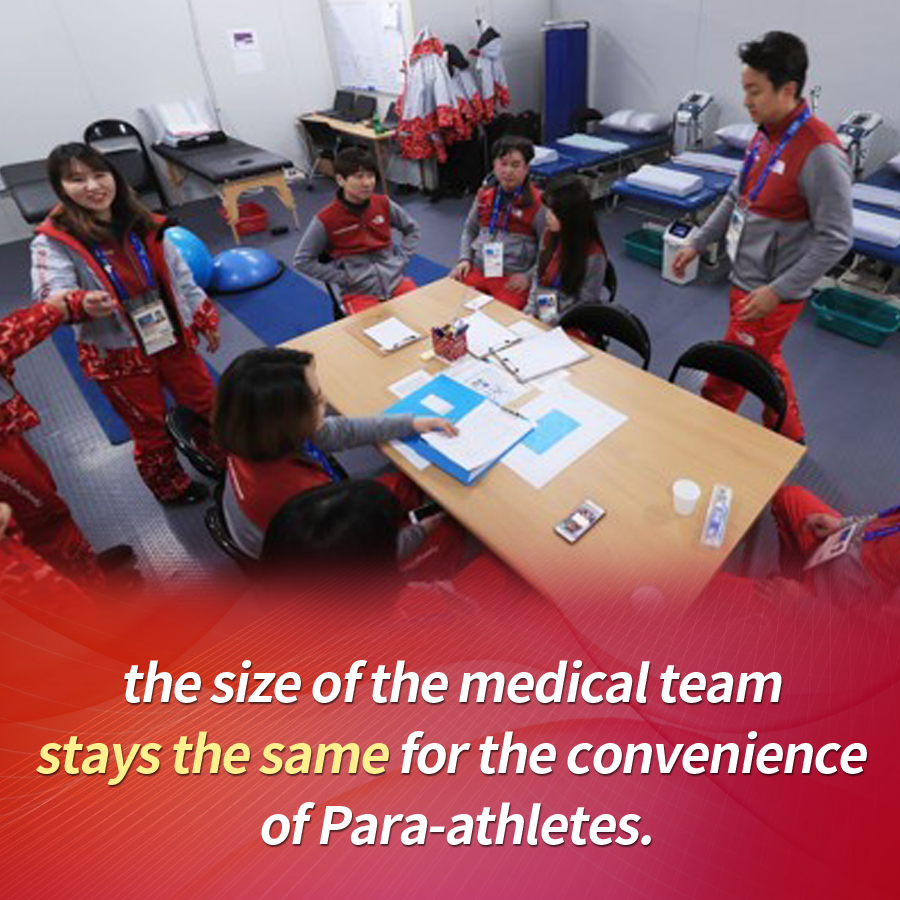 the size of the medical team stays the same for the convenience of Para-athletes.