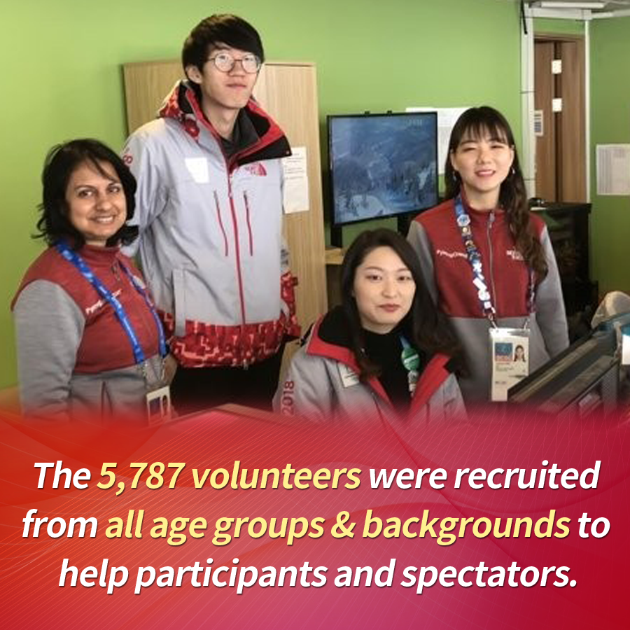 The 5,787 volunteers were recruited from all age groups & backgrounds to help participants and spectators.