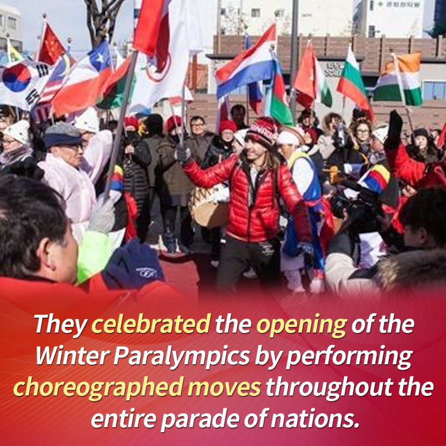 They celebrated the opening of the Winter Paralympics by performing choreographed moves throughout the entire parade of nations.