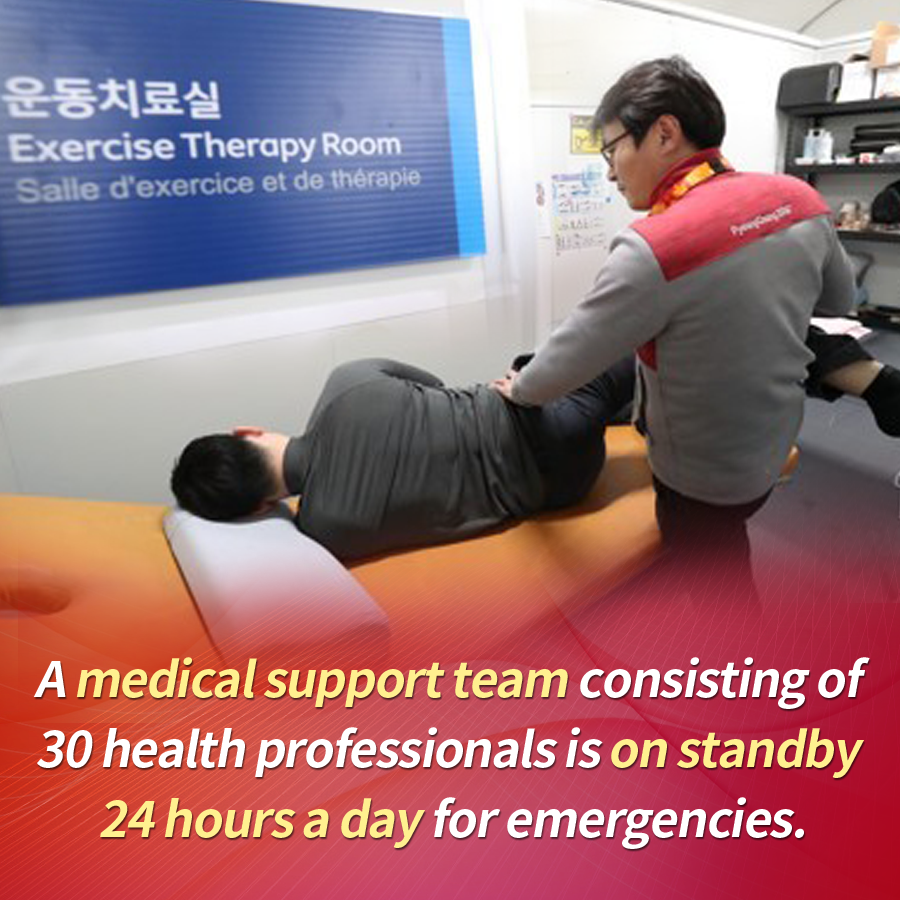 A medical support team consisting of 30 health professionals is on standby 24 hours a day for emergencies.