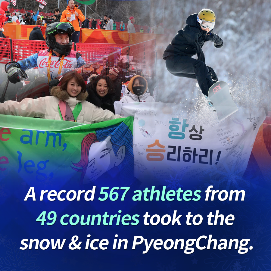A record 567 athletes from 49 countries took to the snow & ice in PyeongChang.