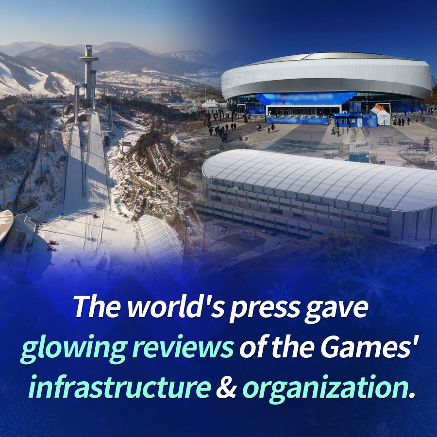 The world's press gave glowing reviews of the Games' infrastructure & organization.